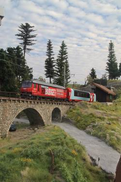 Glacier Express kommend aus St. Moritz auf der Fahrt nach Chur